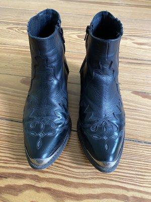 "TOPSHOP ""Flame"" Western-Boots Cowboy-Boots Stiefeletten schwarz Leder"