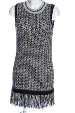 Topshop Jurk met franjes zwart-wit kabel steek casual uitstraling