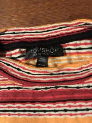 Topshop: gestreiftes Top/ Shirt, eng, elastisch, hoher Kragen, rot-orange-weiß, Gr. xs/ S/ 36/ 34/ 4