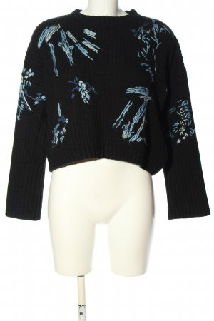 Topshop Coarse Knitted Sweater black-turquoise casual look