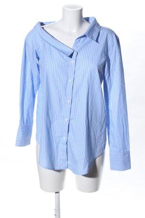 Topshop Hemd-Bluse blau-weiß Allover-Druck Casual-Look