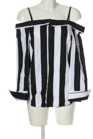 Topshop Hemd-Bluse schwarz-weiß Streifenmuster Casual-Look