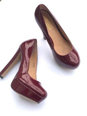 Topshop High Heels Pumps Gr 38-39, Lack Bordeaux, Asos, Zara, rot, Party Blogger Vintage