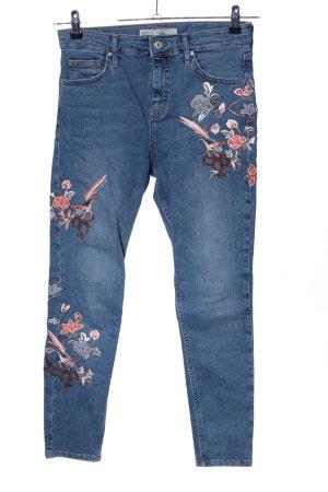 Topshop Jeans taille haute bleu-rose motif de fleur style décontracté