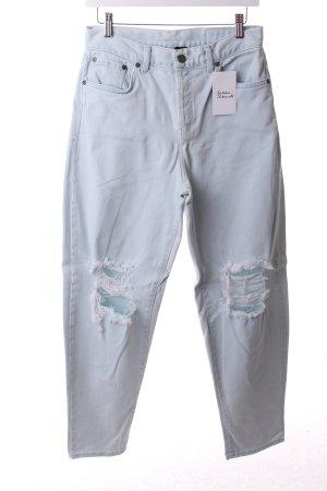 Topshop High Waist Jeans hellblau Destroy-Optik