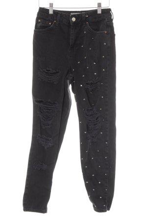 Topshop High Waist Jeans schwarz Metallelemente