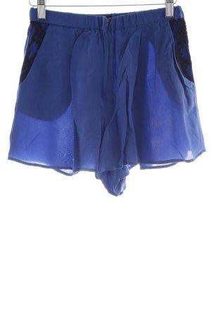 Topshop High-Waist-Shorts blau-schwarz Casual-Look