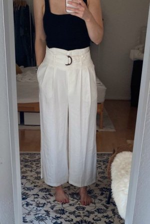 Topshop Hose High Waist Weiß Creme 36 38 S M Creme Taillenhose Sommer Gürtel Culotte Culottes