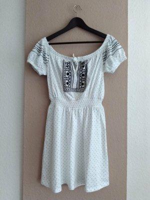 Topshop hübsches gepunktetes gesticktes Minikleid aus 100% Baumwolle, Grösse M