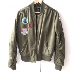 Topshop Jacke Gr  38 Khaki Collegejacke Bomberjacke grün