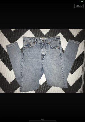 Topshop Jeans taille haute gris-bleu