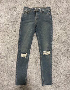 Topshop Pantalon taille haute bleu