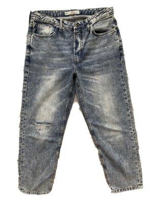 Topshop Moto Jeansy z wysokim stanem niebieski Bawełna