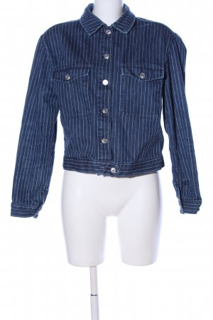 Topshop Jeansjacke blau-weiß Streifenmuster Casual-Look