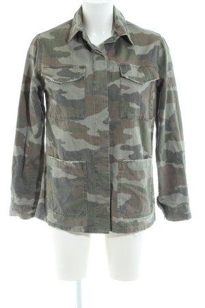 Topshop Jeansjacke khaki-hellgrau Camouflagemuster Casual-Look
