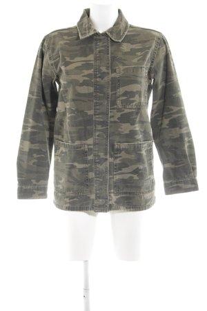 Topshop Jeansjacke khaki-grün Camouflagemuster Casual-Look
