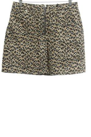 Topshop Jupe en jeans beige-noir motif léopard style mode des rues