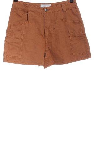Topshop Pantalón corto de tela vaquera marrón estampado a rayas look casual