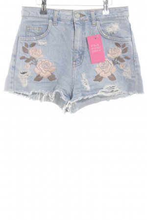 Topshop Jeansshorts Blumenmuster Casual-Look