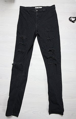 Topshop Joni High Waist Destroyed Ripped Cut Out Hose  w32 L32
