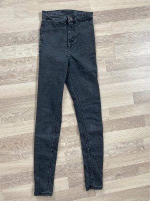 Topshop Joni Jeans in verwaschenem Schwarz