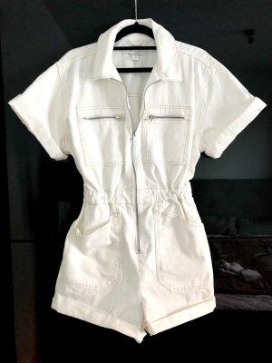 Topshop Jumpsuit Gr. 36 Weiß Denim Jeans kurz