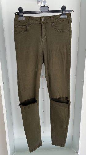 Topshop - Khaki Skinny Jeans W28L32 mit Cutouts an den Knien