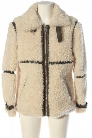 Topshop Giacca in eco pelliccia crema-cachi stile casual