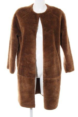 Topshop Abrigo de piel sintética marrón estilo sencillo