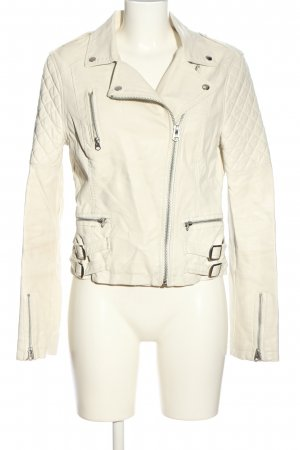Topshop Faux Leather Jacket cream quilting pattern casual look