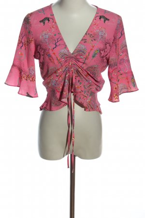 Topshop Kurzarm-Bluse Allover-Druck Casual-Look