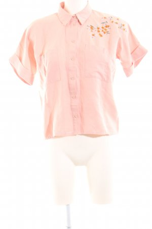 Topshop Kurzarm-Bluse pink Blumenmuster Business-Look