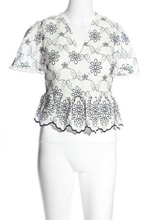 Topshop Kurzarm-Bluse weiß-schwarz Allover-Druck Casual-Look
