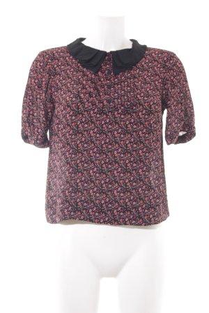 Topshop Kurzarm-Bluse schwarz-dunkelrot