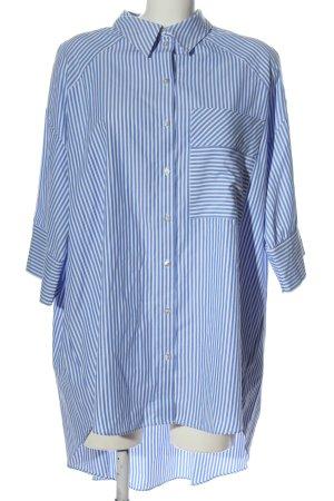 Topshop Kurzarmhemd blau-weiß Allover-Druck Business-Look
