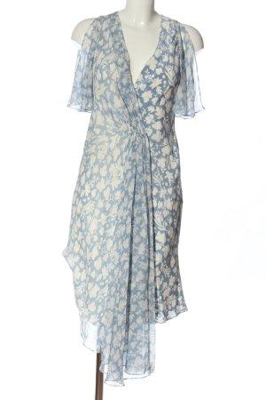 Topshop Kurzarmkleid blau-weiß Blumenmuster Casual-Look