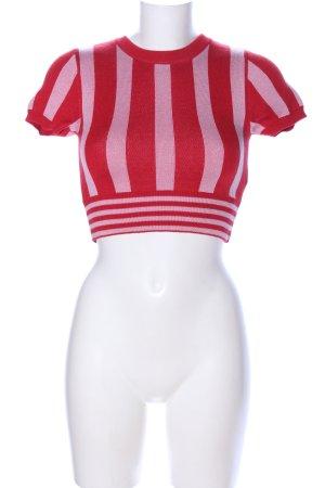 Topshop Kurzarmpullover rot-pink Streifenmuster Casual-Look