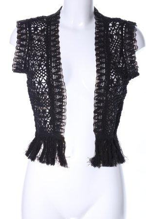 Topshop Short Sleeve Knitted Jacket black transparent look