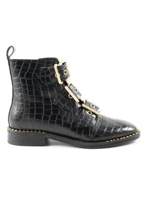Topshop Korte laarzen zwart dierenprint zakelijke stijl