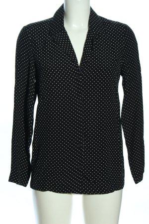 Topshop Langarm-Bluse schwarz-weiß Allover-Druck Business-Look