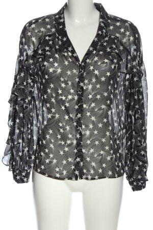 Topshop Langarm-Bluse schwarz-weiß Allover-Druck Casual-Look