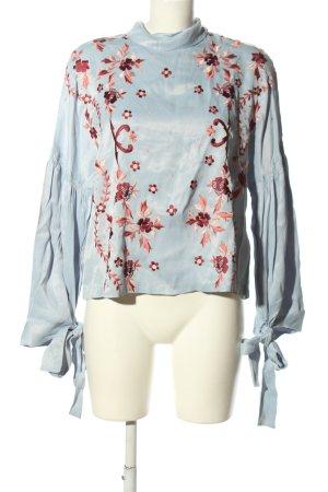Topshop Langarm-Bluse blau-rot Blumenmuster Casual-Look