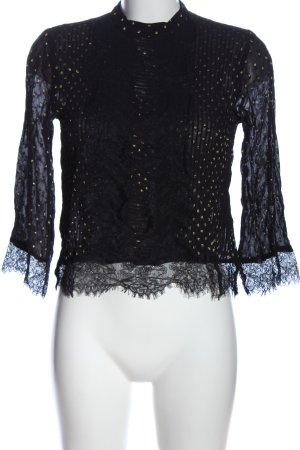 Topshop Langarm-Bluse schwarz-goldfarben Punktemuster Casual-Look