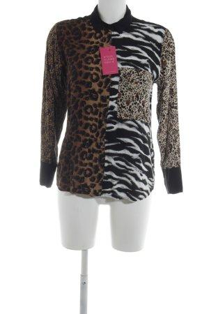 Topshop Langarm-Bluse Animalmuster Casual-Look