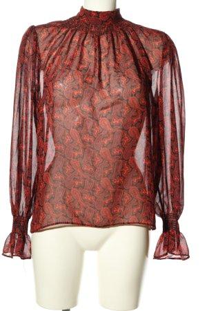 Topshop Langarm-Bluse rot-schwarz abstraktes Muster Elegant