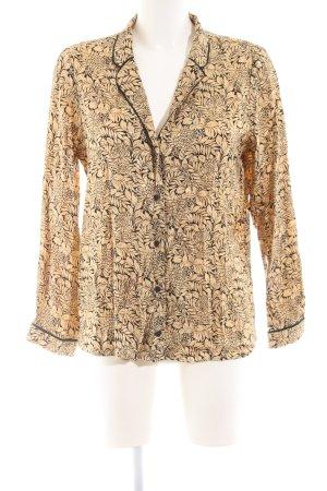 Topshop Langarm-Bluse goldfarben-schwarz Blumenmuster Elegant