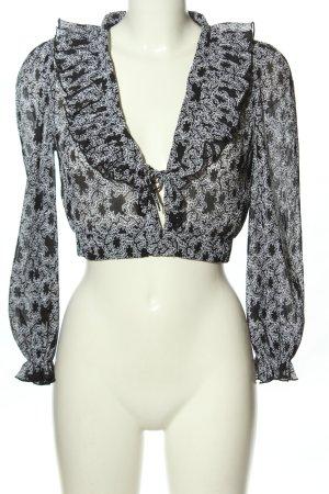 Topshop Langarm-Bluse schwarz-weiß abstraktes Muster Elegant