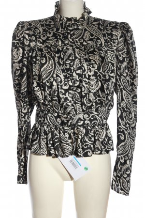 Topshop Langarmhemd schwarz-creme Allover-Druck Elegant