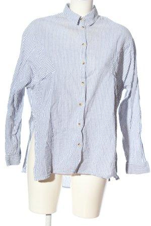 Topshop Langarmhemd blau-weiß Streifenmuster Casual-Look
