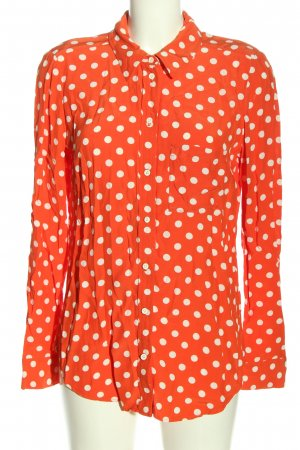 Topshop Langarmhemd rot-weiß Punktemuster Casual-Look
